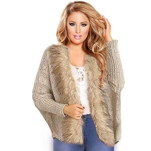 Fur Knit Shawl Cardigan
